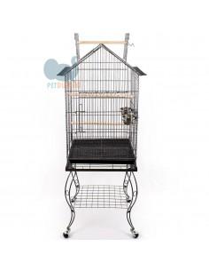 Gabbia per pappagalli con carrello 50x50x155h cm